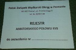 IDZIE NOWE - WRACA STARE - rejestr amatorskiego po³owu ryb